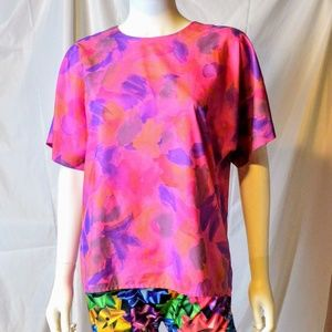 Vtg silk pink purple abstract floral top blouse M